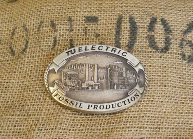 TU Electric Fossil Production Solid Brass Belt Buckle