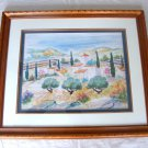 "Magassa ""The Farm in Provence"" Original Painting Watercolor Framed One of a Kind"