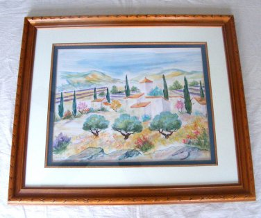 """Magassa """"The Farm in Provence"""" Original Painting Watercolor Framed One of a Kind"""