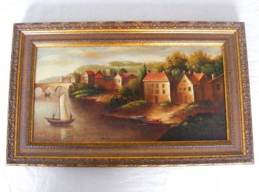 """Americo Cala """"Medieval Village"""" Original Acrylic Painting One of a Kind"""