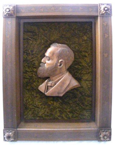 Antique Wood Hand Carving Sculpture President Garfield Framed