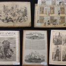 LOT of 5 Magazine Newspaper Engravings19th Century