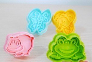 Cookie Cutter Stamp Mold 4pcs ANIMAL BEE HIPPO Series Pie Crust Cutter Set