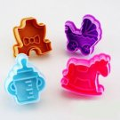 Cookie Cutter Stamp Mold 4pcs BABY SHOWER Series Pie Crust Cutter Set