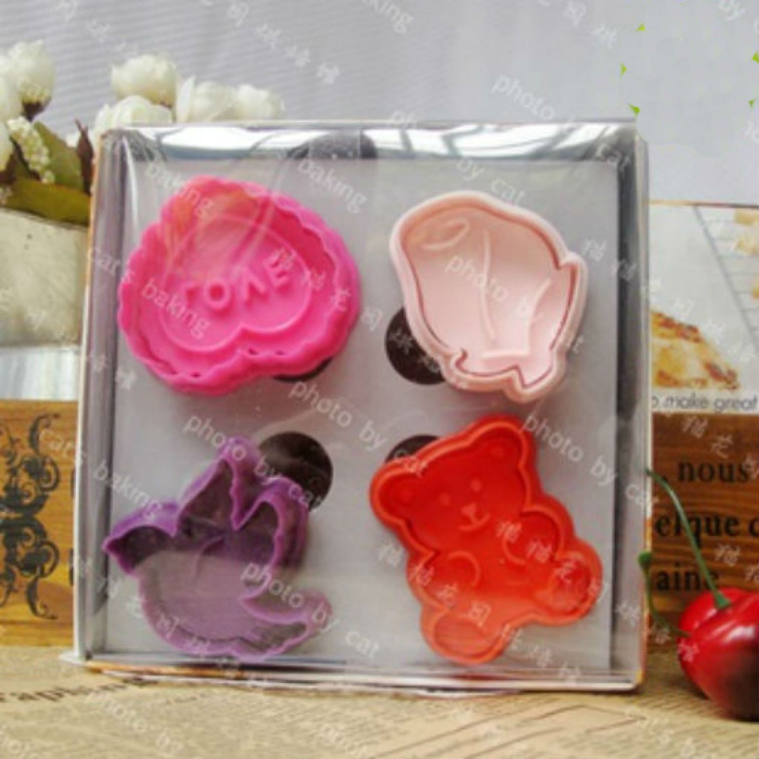 Cookie Cutter Stamp Mold 4pcs VALENTINE Series Pie Crust Cutter Set