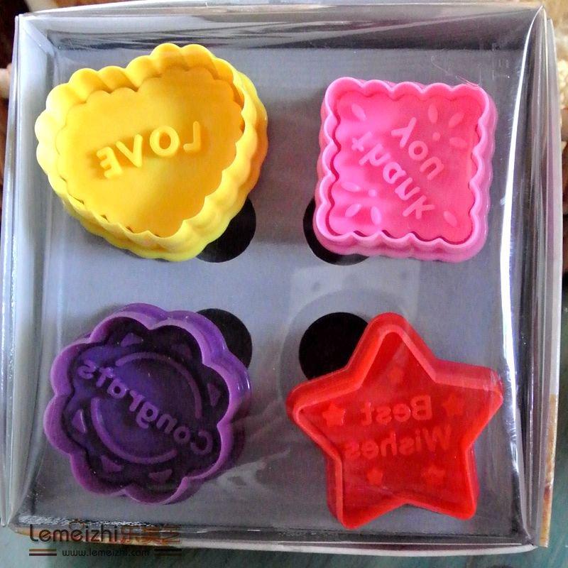 Cookie Cutter Stamp Mold 4pcs MESSAGE WORDING DIFFERENT SHAPE Series Pie Crust Cutter Set