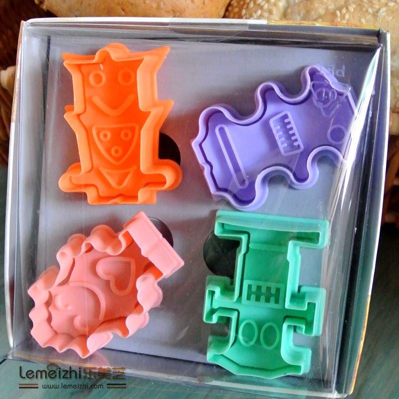 Cookie Cutter Stamp Mold 4pcs ROBOT Series Pie Crust Cutter Set