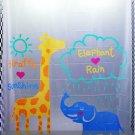 Giraffe & Elephant DESIGN Waterproof Shower Curtain Set 180 x 200 cm CUTE ANIMAL DESIGN