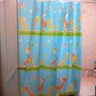 Cute Animal SKY BLUE Color Cartoon Giraffe Design 180x180cm Peva Shower Curtain