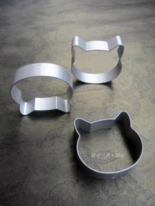 Big Head Cat Shape 3pcs 1 Set Stainless Steel Cookie Cutter Cheese Cutter