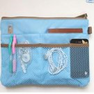 Bag inside Bag BLUE Travel Insert Handbag w/ Zipper Large Liner Organizer Purse
