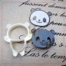 Cute PANDA Design Plastic Cookie Cutter 4pc Mold Food Cutter Set Easy Use