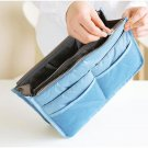 SKY BLUE Large Liner Organizer Bag Dual Zipper Purse Nice to Insert Inside BAGS