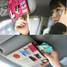 BEIGE & HOT PINK COLOR 2 Multiple Purpose SUN VISOR POUCH CAR USE Easy Install Organizer Bag