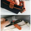 BEIGE & NAVY BLUE COLOR 2 Multiple Purpose SUN VISOR POUCH CAR USE Easy Install Organizer Bag