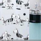 Cute Cartoon ZEBRA Design 180 cm x 180 cm PEVA Plastic Bathroom Use Shower Curtain Set