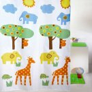 Colorful ANIMAL ZOO Cute Design 180 x210 cm PEVA Bathroom Use SHOWER CURTAIN Set
