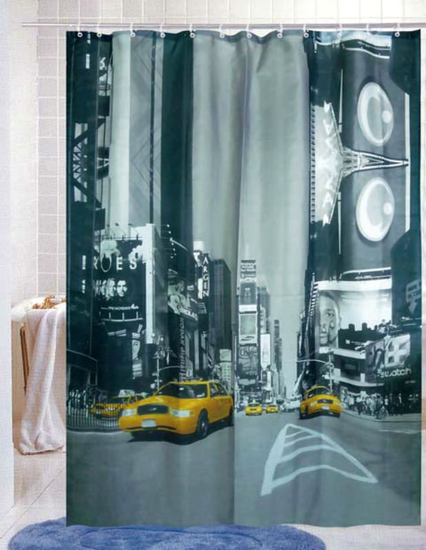 BUSINESS Building & Yellow Cab180 x 180cm Bathroom Polyester SHOWER CURTAIN SET