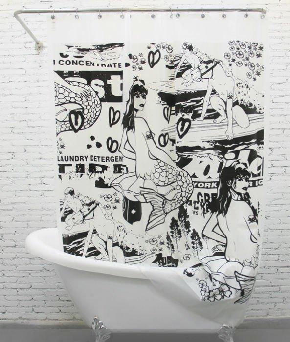 MERMAID COOL Black Color Design PEVA 180x200cm Bathroom Use Shower Curtain Set