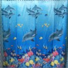 DOLPHIN Under the Sea Adorable Design 178 x 178 cm Bathroom Use SHOWER CURTAIN
