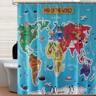 WORLD MAP Cute Animal Cartoon 180X200cm Bathroom Use Shower Curtain Set