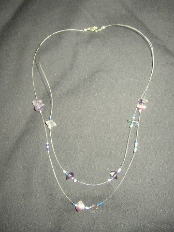 Double Strand Purple Chip Necklace