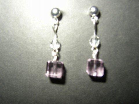Short Pink Cube Earrings