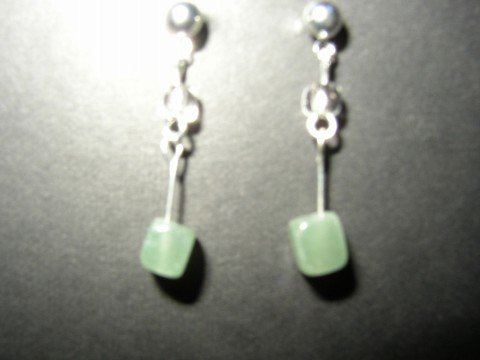 Green Cube Earring