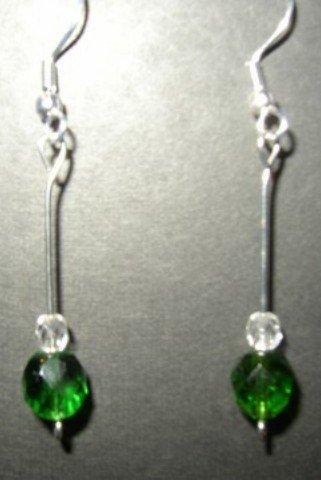 Green White Crystal Earrings