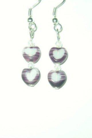 Two Purple Heart Earrings