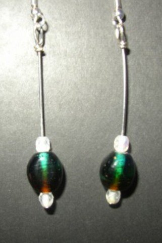 Two Tone Red Green Earring