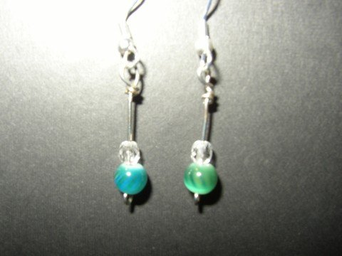 Bluegreen Spiral Earring
