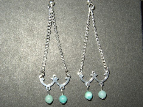 Double Blue Chandelier Earrings
