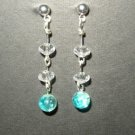 Blue Crystalized Glass Earring