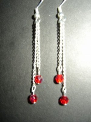 Two Red Dangling Earring