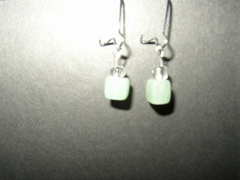 Short Green Cube Earrings