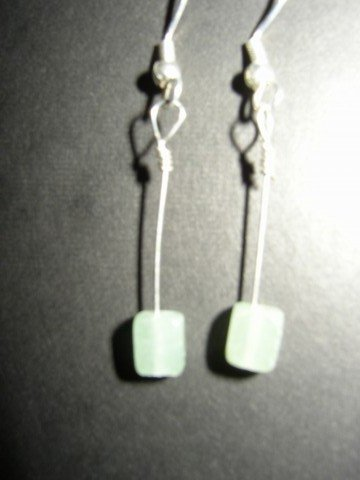 Long Green Cube Earrings