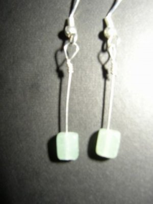 Long Green Cube Earrings