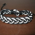 Black & White Leather Unisex Punk Braided Bracelet Charm NEW #D58