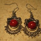 Earrings Tibetan Red Coral Chandelier Pierced NEW #D560