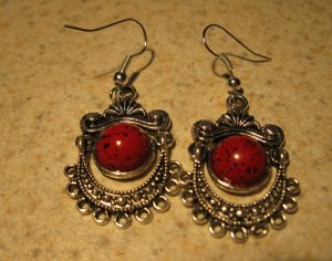 Earrings Tibetan Red Coral Chandelier Pierced NEW #D560