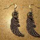 Earrings Tibetan Silver Angel Wing Charm Pierced Dangle NEW #611