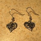 Earrings Tibetan Silver Filigree Heart Charm Pierced Dangle NEW #459