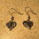 Earrings Tibetan Silver Filigree Heart Charm Pierced Dangle NEW #459