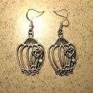 Earrings Pierced Tibetan Silver Bird Cage Charm NEW #491