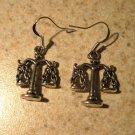 Earrings Pierced Tibetan Silver Justice Scale Charm NEW #595