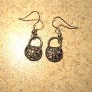 Earrings Pierced Tibetan Silver Straw Purse Charm NEW #473