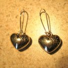 Earrings Pierced Tibetan Silver Etched Heart Charm NEW #452