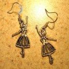 Earrings Pierced Tibetan Silver Ballerina Charm NEW #570