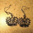 Earrings Pierced Tibetan Silver Imperial Crown Charm NEW #711
